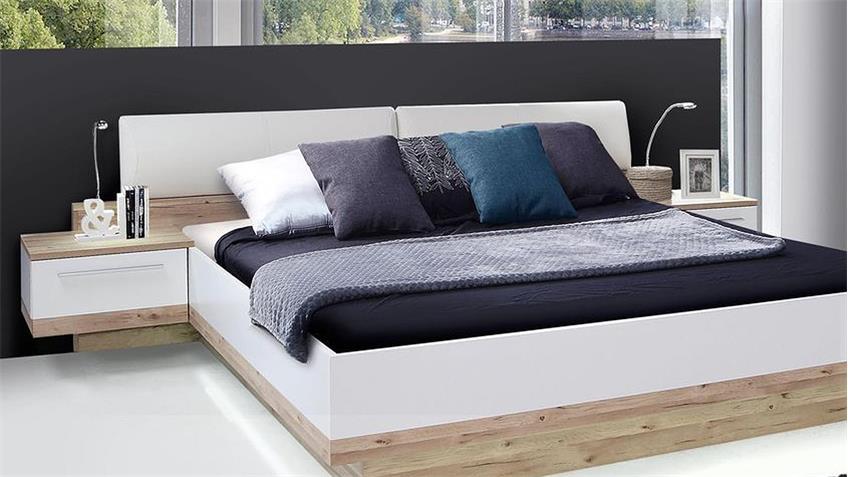 Bettanlage CALLAS Bett Nako planked Eiche und weiß 180x200