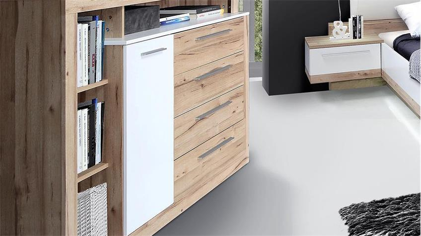Sideboard CALLAS Kommode Anrichete in planked Eiche und weiß