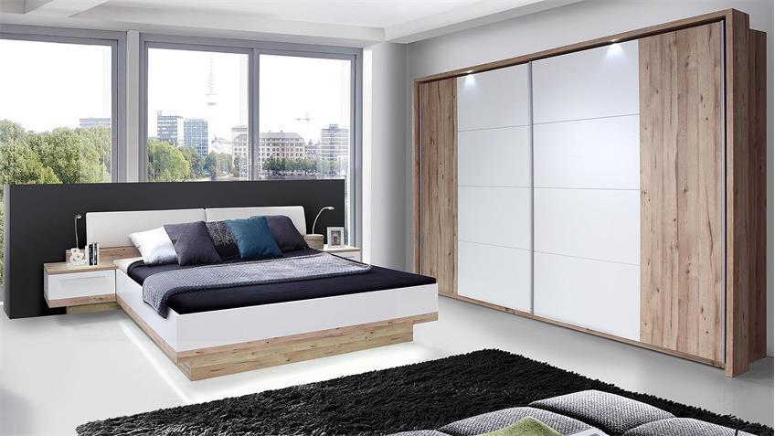 Schlafzimmerset CALLAS Schlafzimmer planked Eiche und weiß