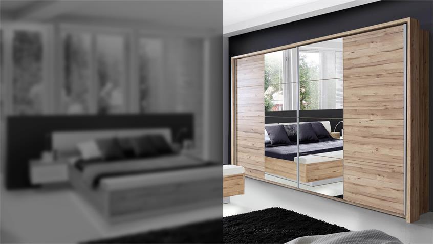 Schwebetürenschrank MINERO planked Eiche mit Spiegel 269 cm