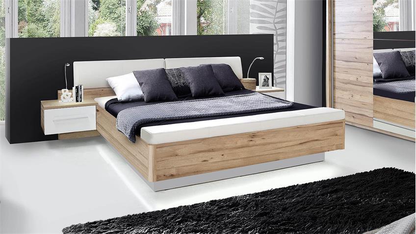 Bettanlage MINERO Bett Nako planked Eiche und weiß 180x200
