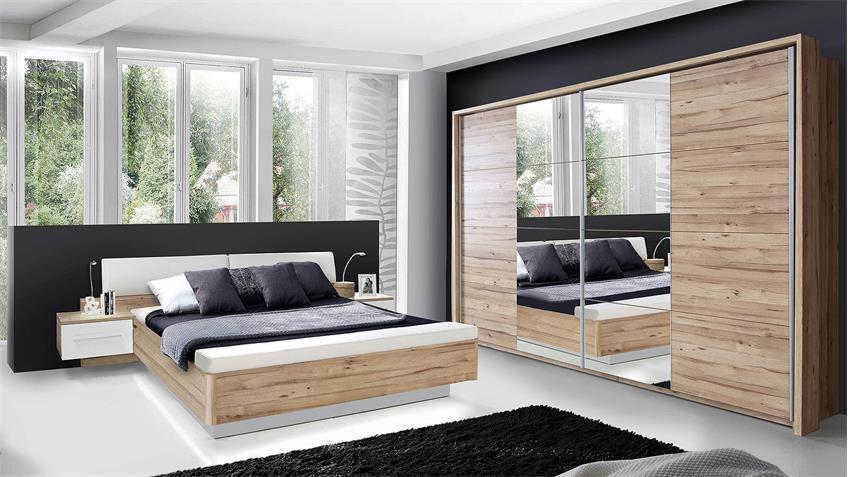 Schlafzimmerset MINERO Schlafzimmer planked Eiche und weiß