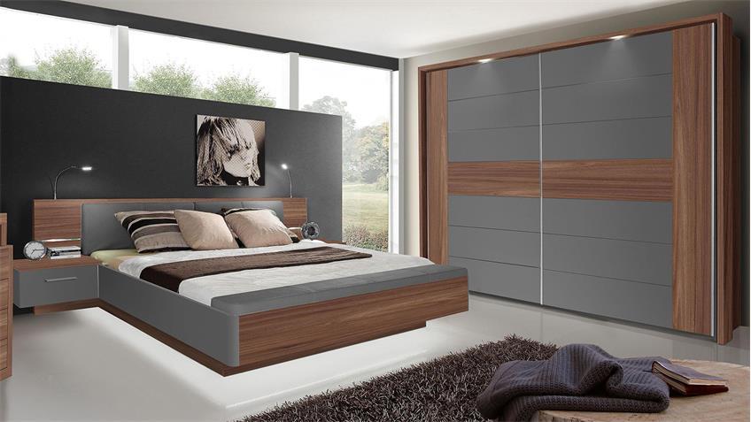 Schlafzimmer TRINITY Uni Wolfram grau Sangallo Eiche mit LED