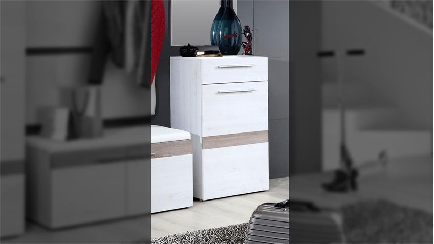 Schuhschrank ALESCO Garderobe Schnee Eiche Nelsoneiche