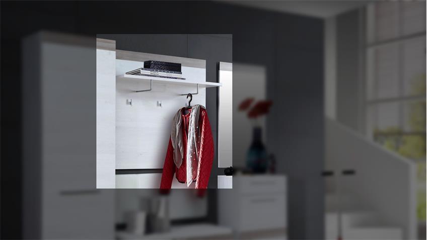 Kleiderpaneel ALESCO Garderobe Schnee Eiche Nelsoneiche