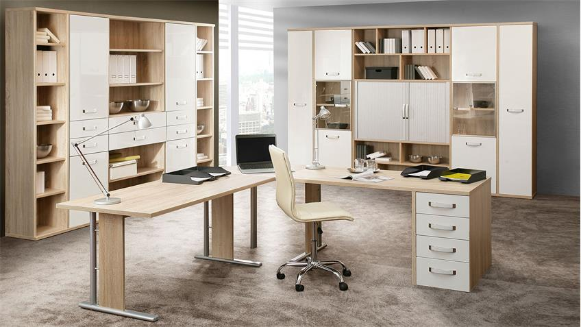Bürotisch DUCATO Schreibtisch in Sonoma Eiche weiß Hochglanz