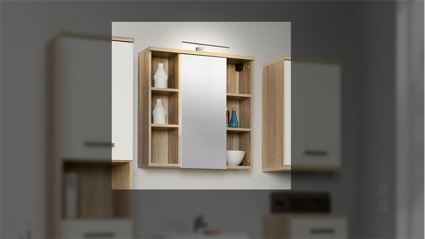 Spiegelschrank 1 VERISA Badmöbel in Sonoma Eiche mit LED