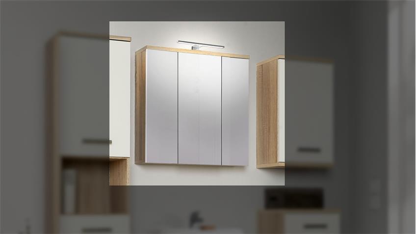 Spiegelschrank 2 VERISA Badmöbel in Sonoma Eiche mit LED
