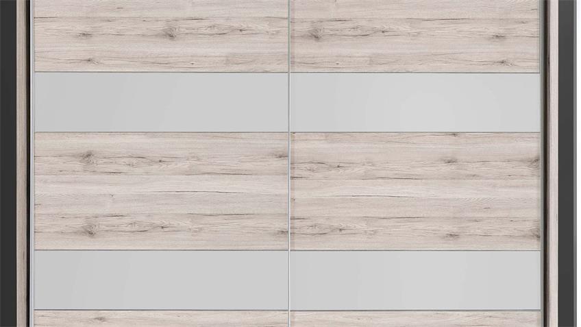 Schwebetürenschrank DA CAPOS Sandeiche weiß matt grau