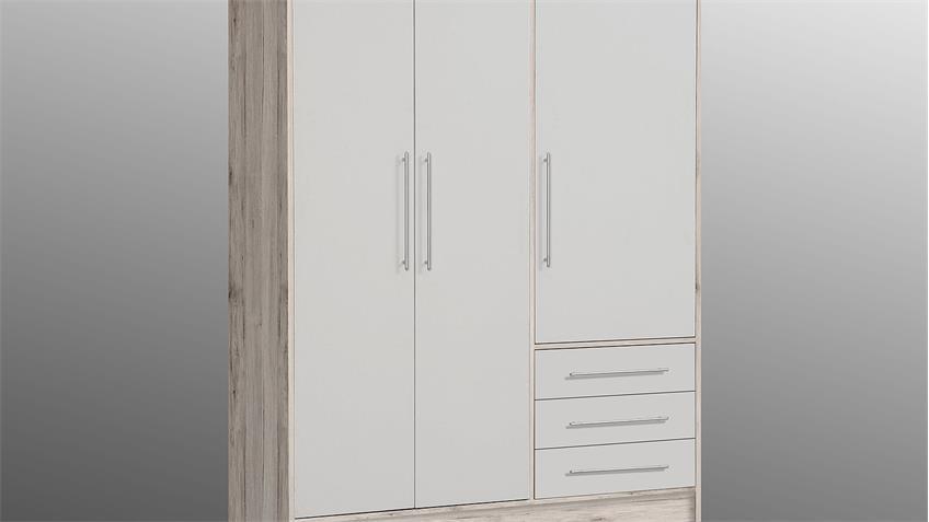 Kleiderschrank JUPITER Schrank  Sandeiche und weiß 144 cm