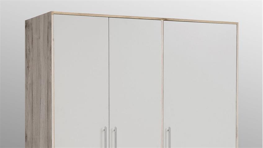 Kleiderschrank JUPITER in Sandeiche und weiß mit 3 Schubkästen 145 cm