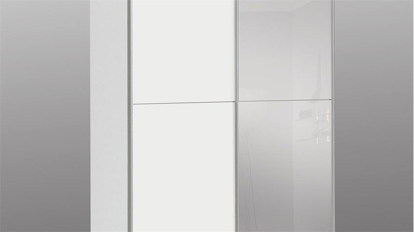 Schwebetürenschrank BABETTA Schrank in weiß mit Spiegel 120