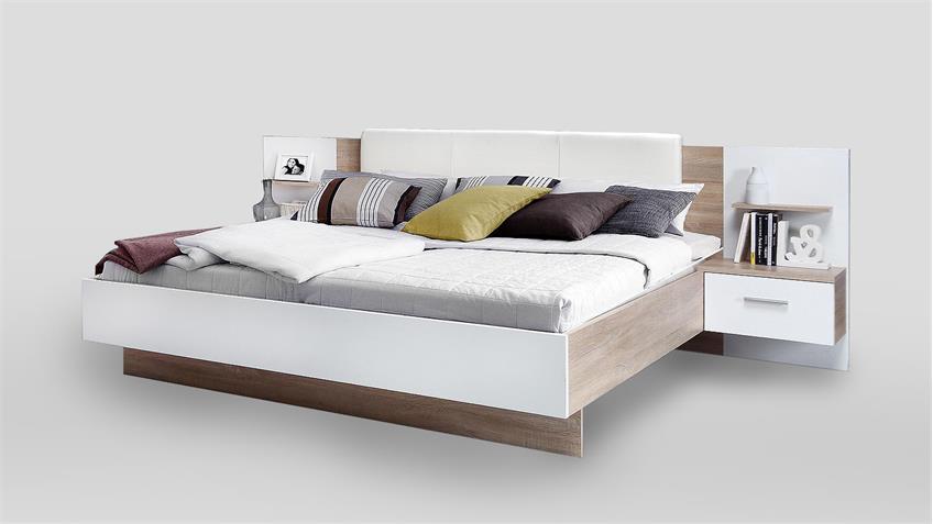 Bettanlage GINGERS Bett Nachtkommode Sonoma Eiche und weiß