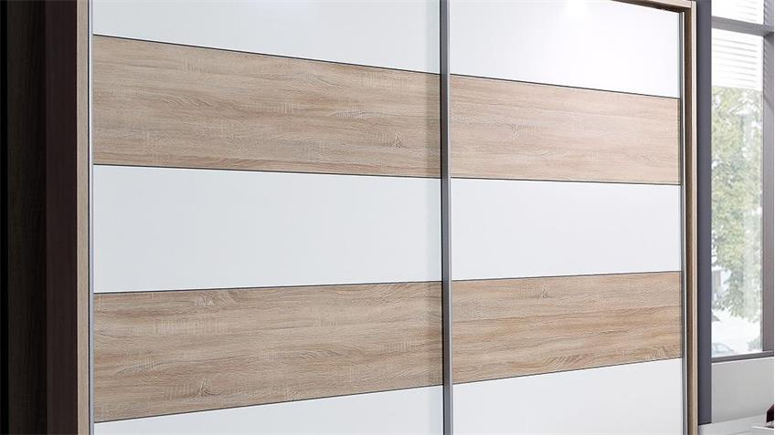 Schwebetürenschrank GINGER in Sonoma Eiche und weiß 220 cm