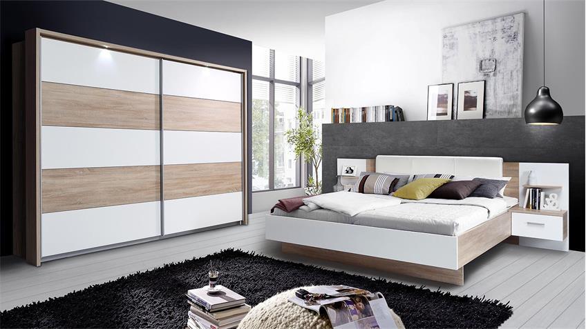 Schlafzimmer GINGERS Schlafzimmerset Sonoma Eiche und weiß