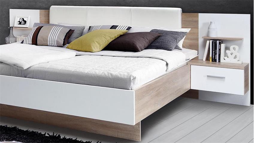 Schlafzimmer GINGER Schlafzimmerset Sonoma Eiche und weiß