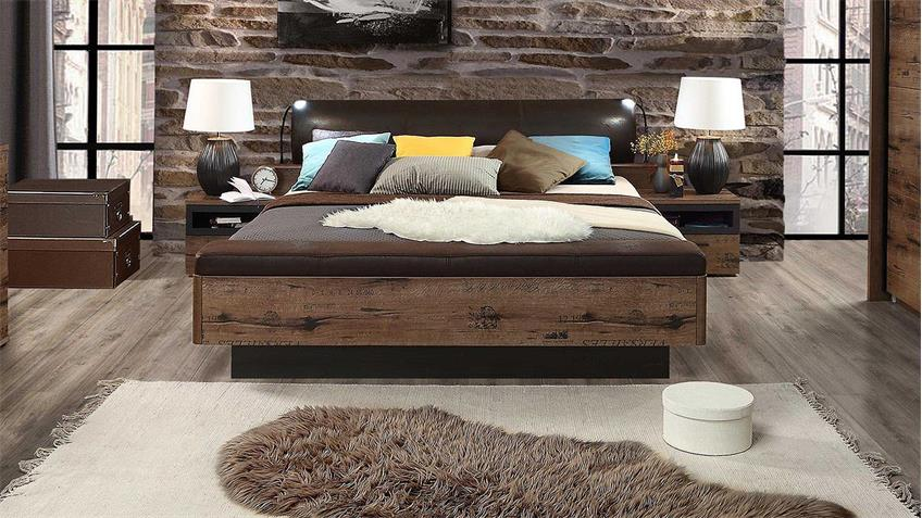 bett jacky schlafzimmer mit bank schlammeiche und. Black Bedroom Furniture Sets. Home Design Ideas