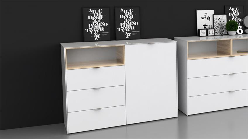 kommode 1 stamford in wei sonoma eiche mit d mpfung und selbsteinzug. Black Bedroom Furniture Sets. Home Design Ideas