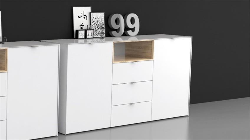 kommode 3 stamford in wei sonoma eiche mit d mpfung und selbsteinzug. Black Bedroom Furniture Sets. Home Design Ideas