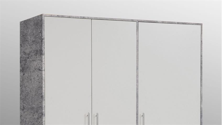 Kleiderschrank Jupiter Betonoptik und Front weiß mit 3 Schubkästen