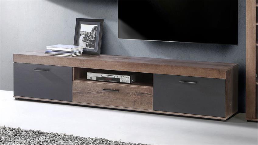 wohnwand valentin schlammeiche und schwarz eiche inkl led beleuchtung. Black Bedroom Furniture Sets. Home Design Ideas