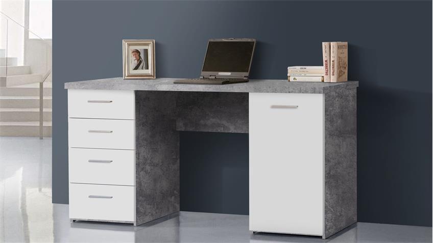 Schreibtisch Betonoptik NET106 lichtgrau und weiß matt 145x60 cm