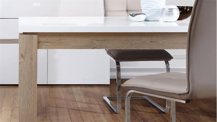 esstisch bianko wei hochglanz und bianco eiche ausziehbar 160 207 cm. Black Bedroom Furniture Sets. Home Design Ideas