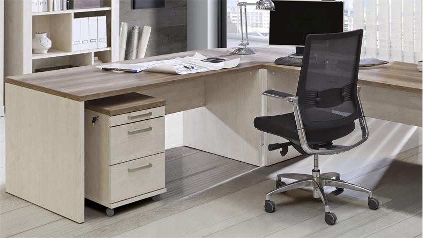 Arbeitszimmer DURO Büro Set Home Office in Pinie weiß und Eiche Antik