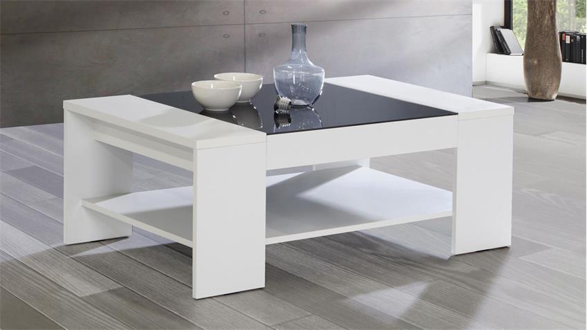 couchtisch brady beistelltisch in wei mit glaseinsatz schwarz. Black Bedroom Furniture Sets. Home Design Ideas