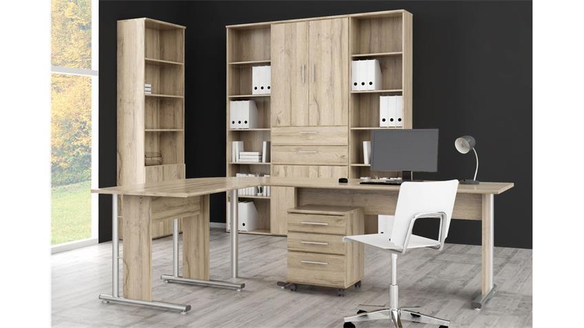 arbeitszimmer mindi home office in eiche bianco 6 teilig. Black Bedroom Furniture Sets. Home Design Ideas