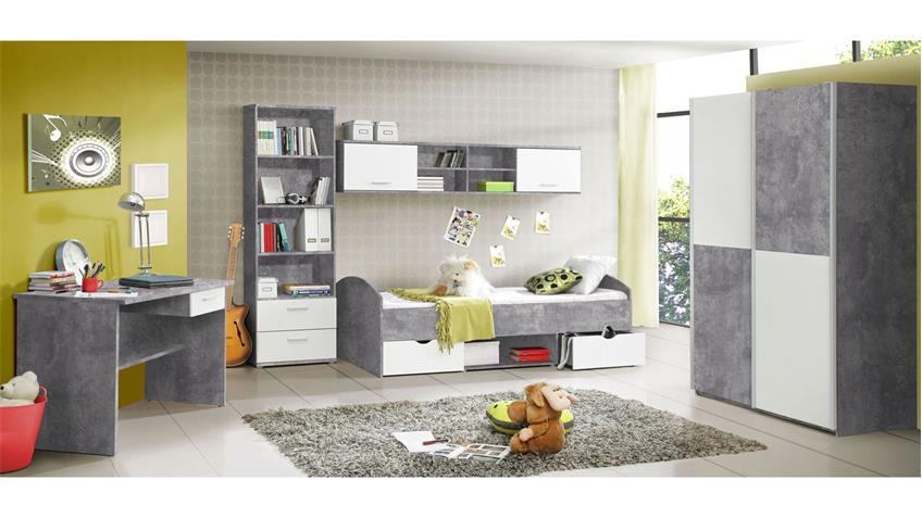 jugendzimmer lupo schrank bett regal schreibtisch beton grau und wei. Black Bedroom Furniture Sets. Home Design Ideas