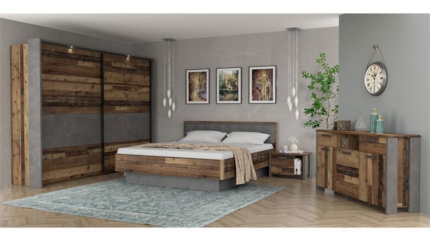 Bett CLIF BINOU old wood vintage Beton dunkelgrau 180x200