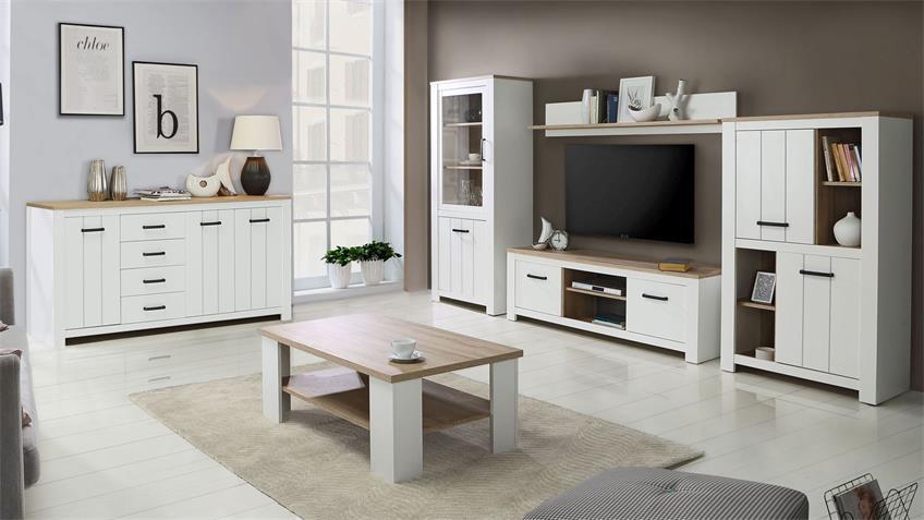 Sideboard ELARA Anrichte in weiß matt und Eiche Bianco