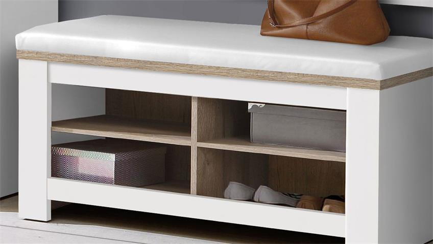 Sitzbank ELARA in weiß matt und Eiche Bianco mit Kissen