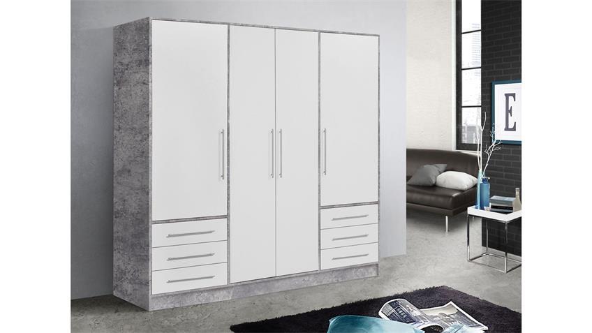 Kleiderschrank JUPITER Schrank in Beton und weiß 206 cm
