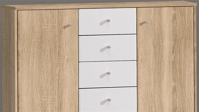 Sideboard TEMPRA Kommode in Sonoma Eiche und weiß 106x85