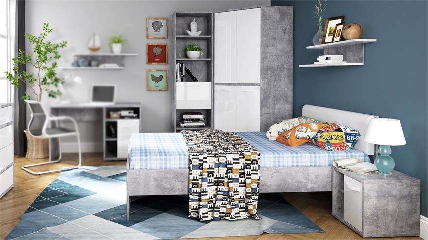 Jugendzimmer Set 1 CANMORE weiß Hochglanz Beton und grau