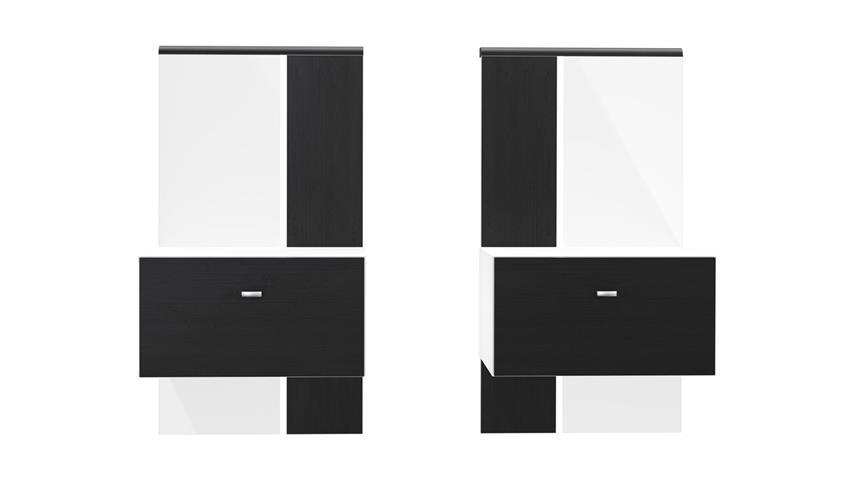 Bettanlage TALLIS in weiß Hochglanz Schwarz Eiche 160x200