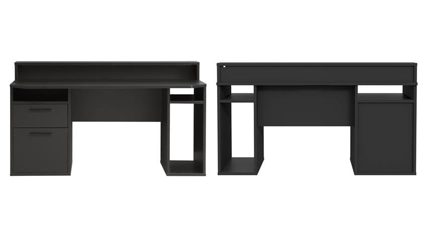 Computertisch 3 TEZAUR PC-Tisch schwarz matt inkl. LED