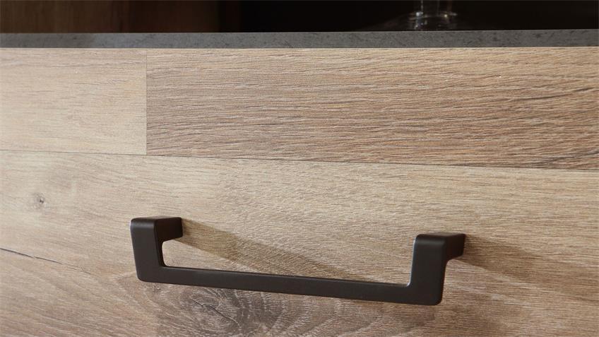 Sideboard HUD in Stabeiche Betonoptik grau Metall schwarz