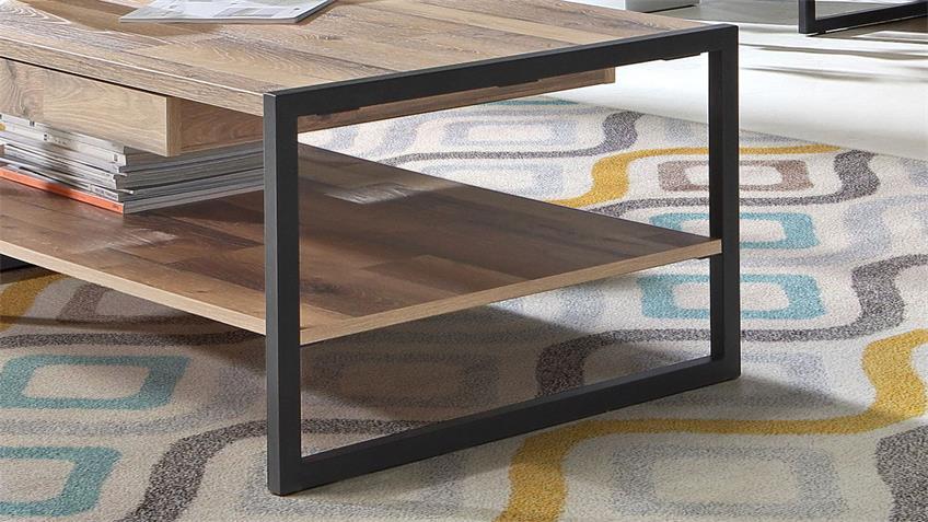 Couchtisch HUD Stabeiche Metall schwarz Schubkasten 110x60
