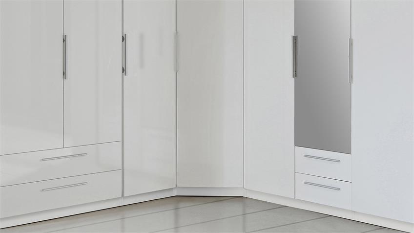 Eckschrank CADIXO Kleiderschrank mit Spiegel weiß Hochglanz