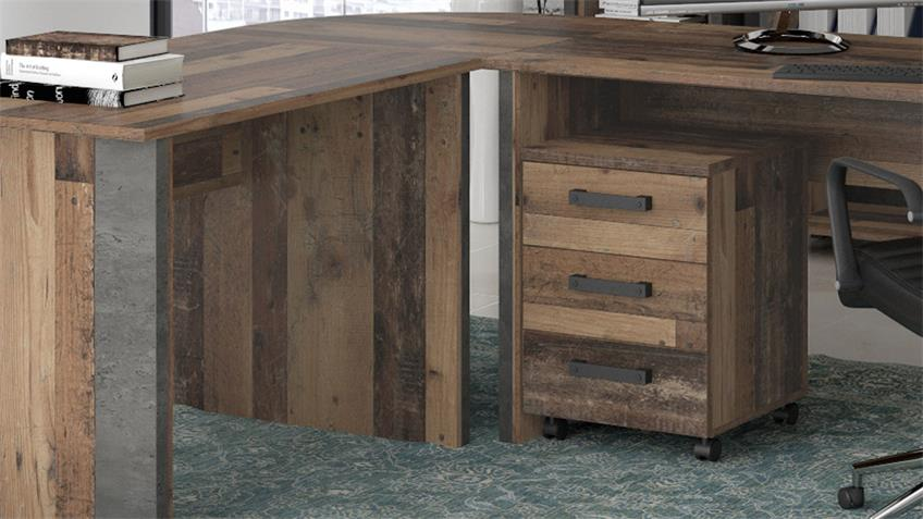 Rollcontainer CLIF vintage old wood Altholz mit 3 Schubkästen