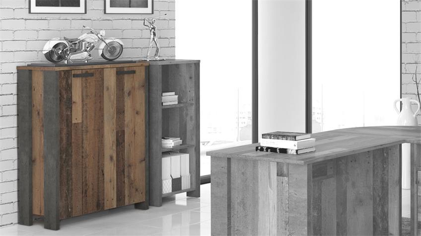 Aktenschrank CLIF Büroschrank old wood vintage Beton Optik 2-türig