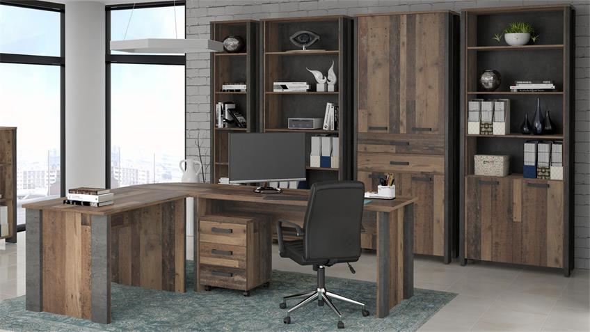 Aktenregal CLIF Büroschrank old wood vintage Beton Optik 2-türig