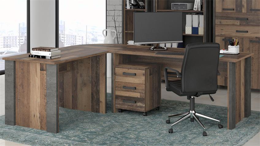 Eckschreibtisch CLIF old wood vintage und Beton Optik 173x223