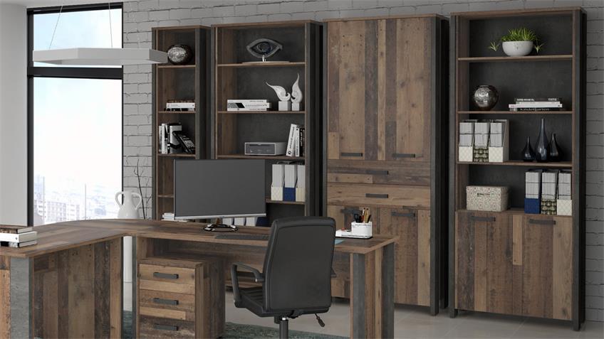 Büro Set CLIF Arbeitszimmer old wood vintage Beton Optik 10-teilig