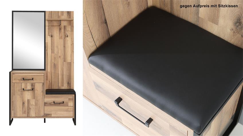 Garderobe HUD Kompaktgarderobe Stabeiche Metall schwarz