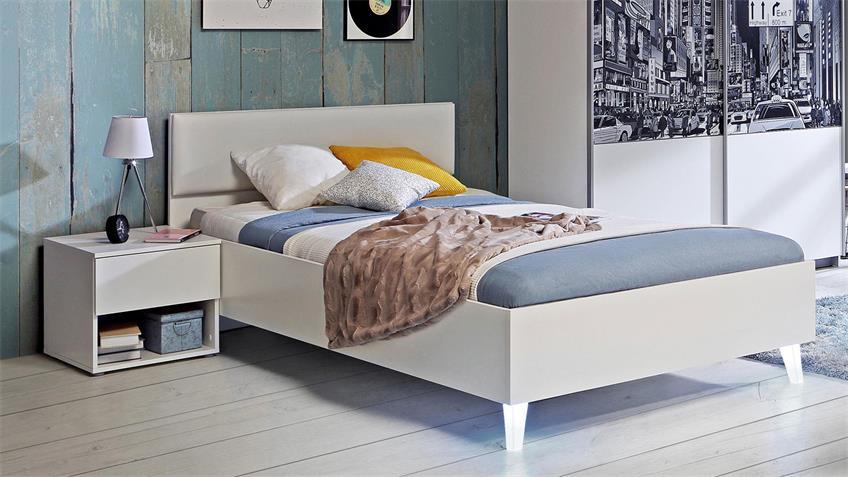 Nachtkommode YERODIN Jugendzimmer Nachttisch in weiß