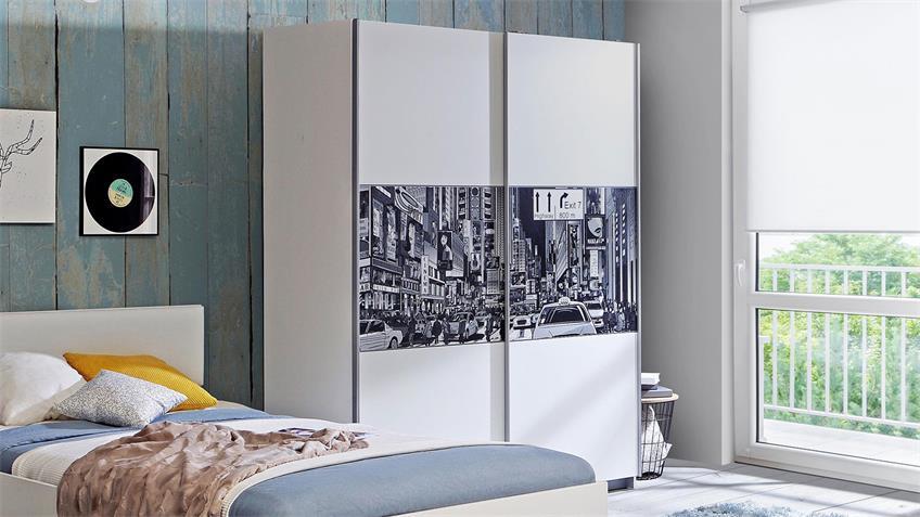 Jugenzimmer YERODIN 4-teiliges Set weiß mit LED-Beinen 120x200